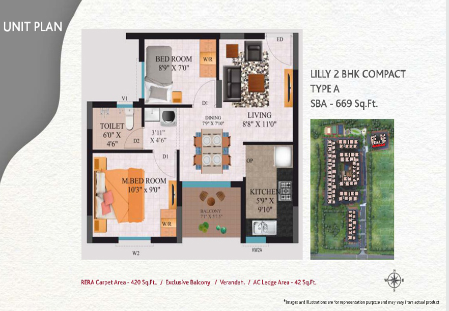 lilly-2bhk-compact-type-A